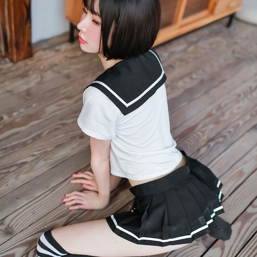 Sexy Womens JK Suit Navy Collar High School Uniform with