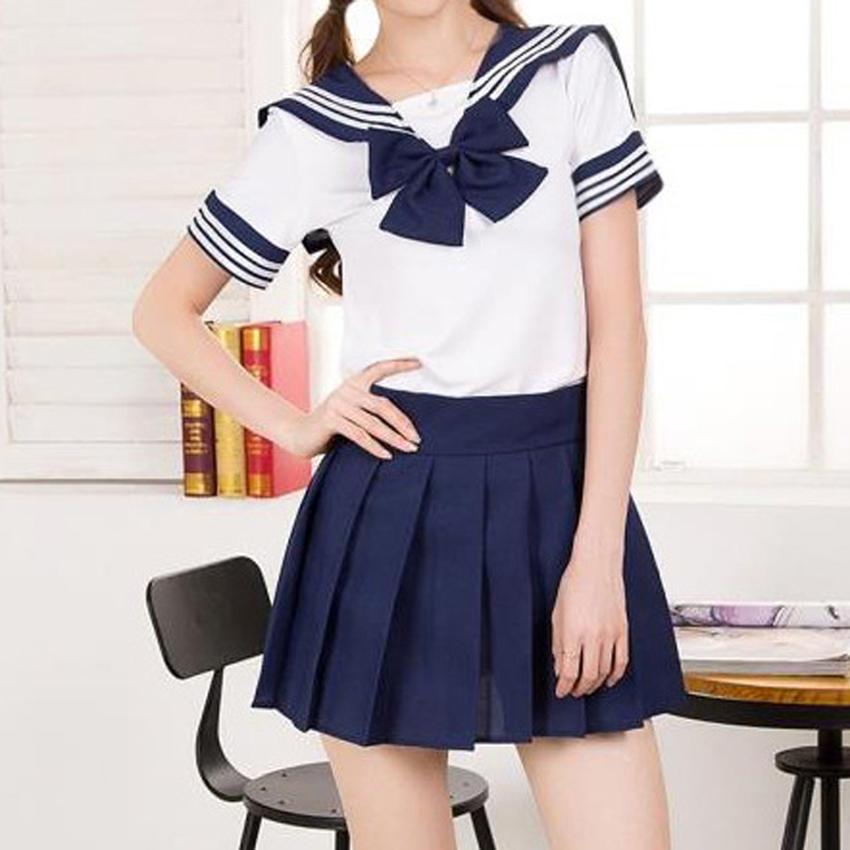 Japanese College Sailor Collar Puff Sleeve High Waist